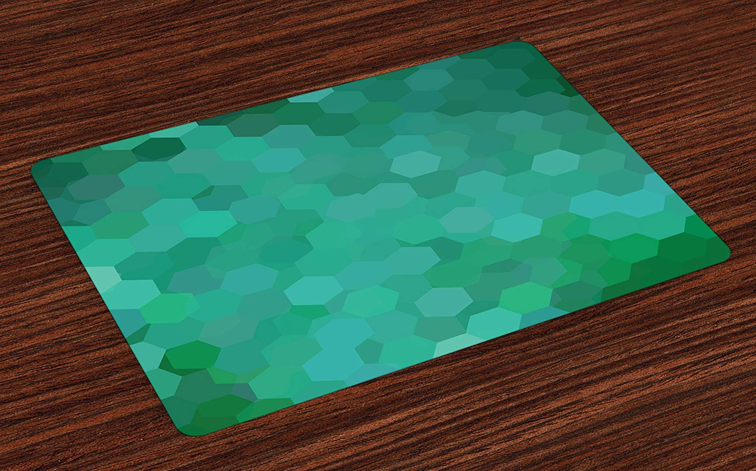 lunarable jade green place mats set hexagonal table accent placemat mosaic arrangement grid style colored pattern washable fabric placemats for dining room kitchen ikea bathroom