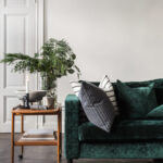 lush green velvet sofas cozy living rooms sofa with wood side table emerald accent west elm hamilton leather headboard lights bath tray lamps usb and cherry coffee inch nightstand 150x150