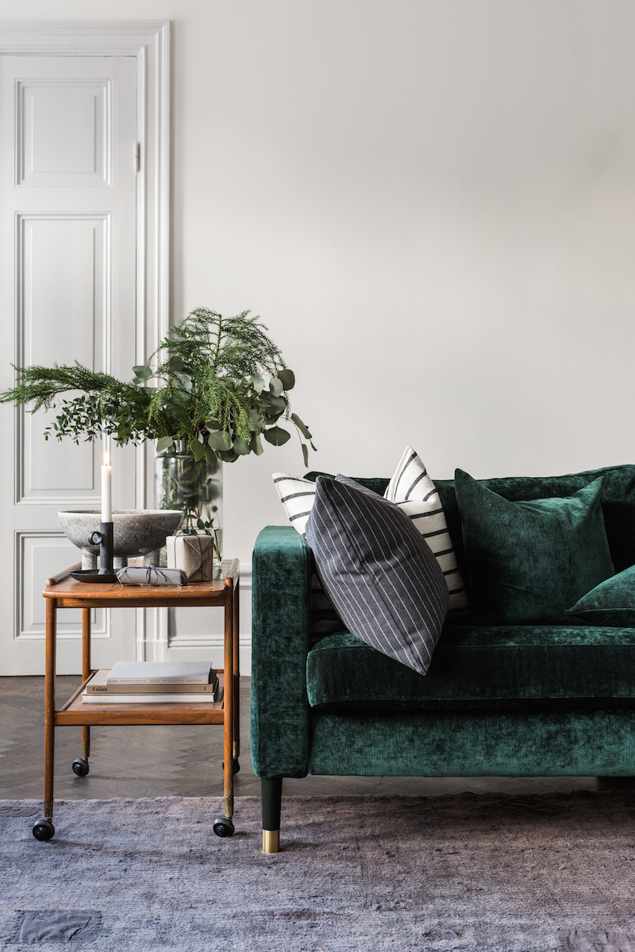 lush green velvet sofas cozy living rooms sofa with wood side table emerald accent west elm hamilton leather headboard lights bath tray lamps usb and cherry coffee inch nightstand