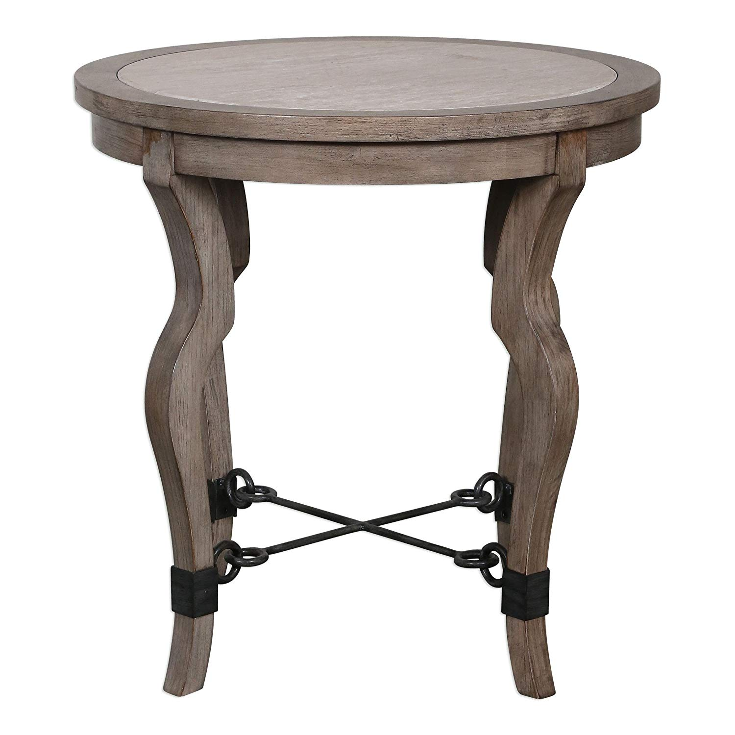 luxe curved weathered wood round accent table inlay travertine light stone kitchen dining glass top coffee and end tables gray brown ashley signature outdoor winter cover inch
