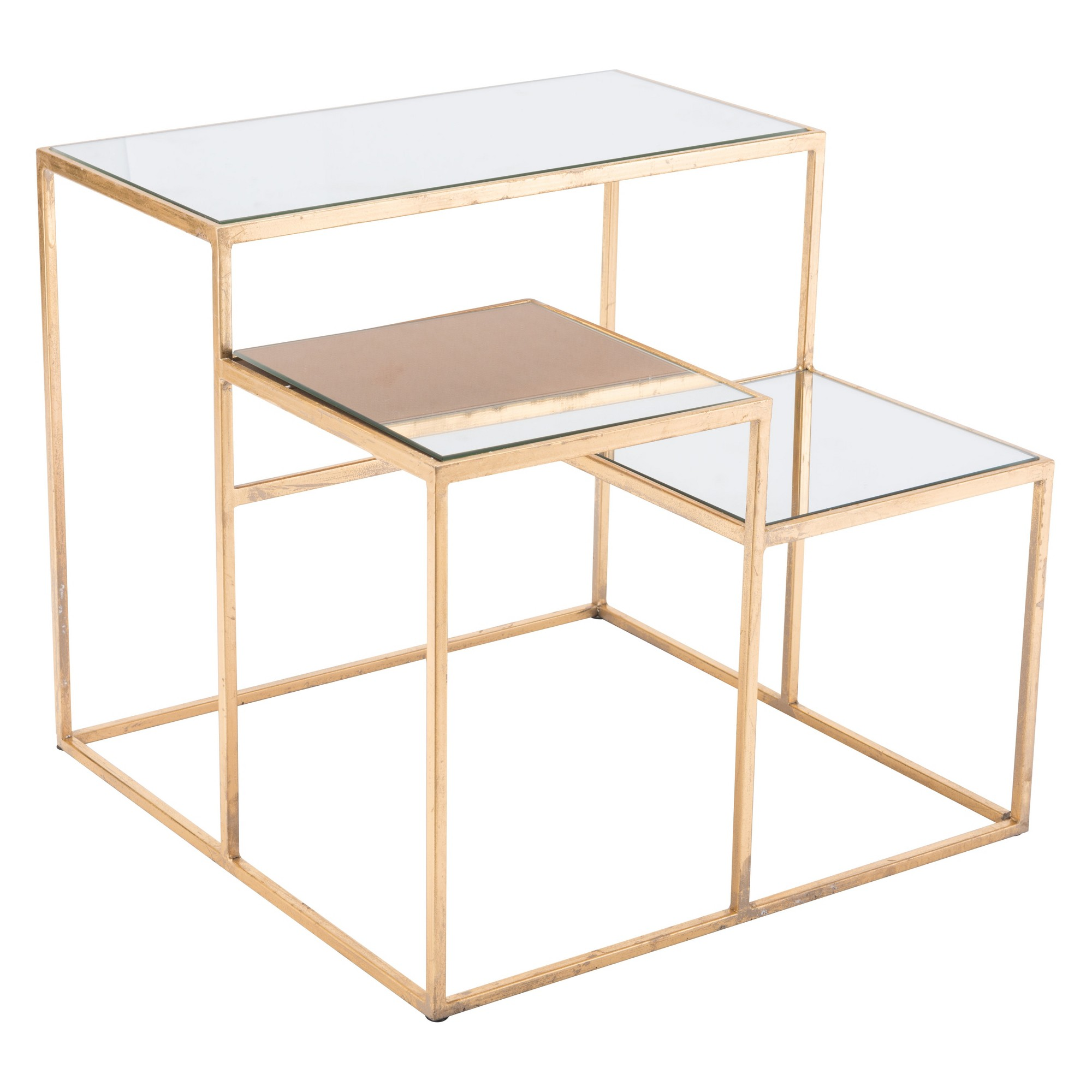 luxe mirror and steel square end table gold home linon galway accent white plastic frame woven pier dining chairs long modern coffee mercer bar cabinet clock nautical style lamps