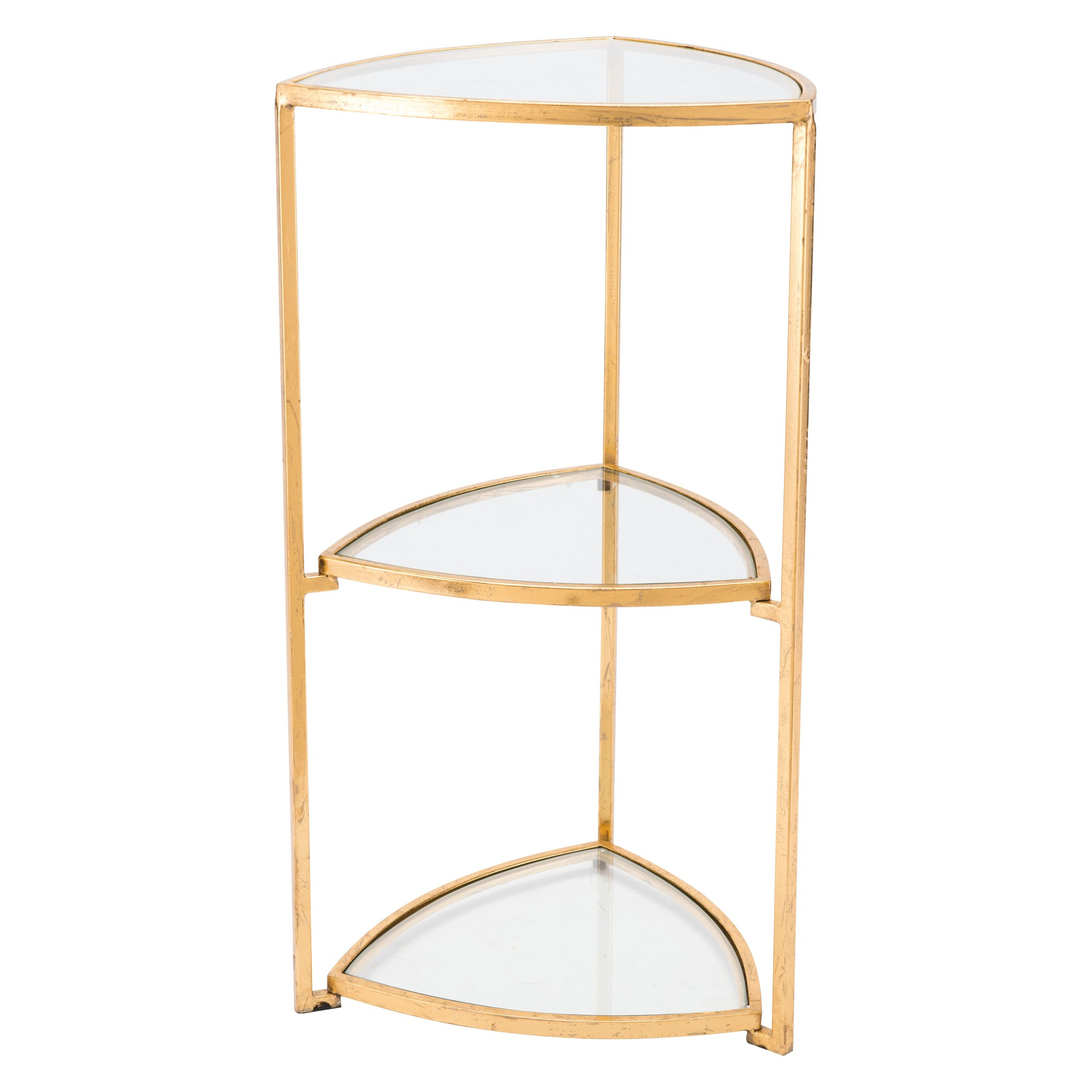 luxe tier glass and steel corner accent table gold home small outdoor storage end pottery barn graphers floor lamp inch long console entryway with baskets room decor lamps plus