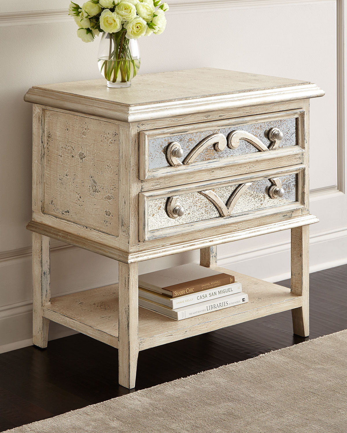 lynley mirrored accent nightstand neiman marcus mackenzie table green linen tablecloth small glass top patio side drum shaped bedside tables antique drop leaf end coffee and sets