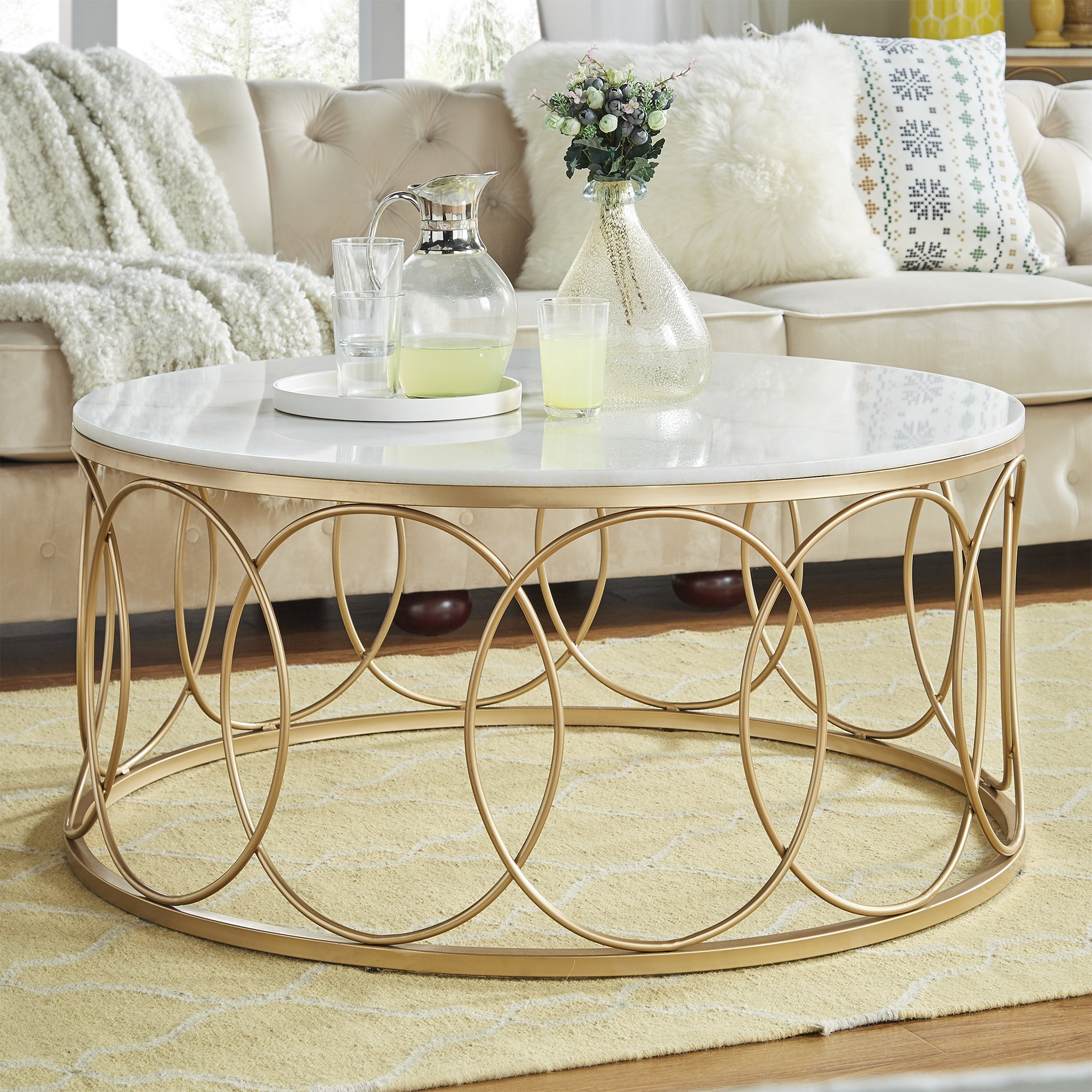 lynn round gold accent tables with marble tops inspire bold table free shipping today vaughan furniture small entryway cabinet square patio side mirage mirrored modern dressing