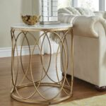 lynn round gold end table with marble top inspire bold accent free shipping today black metal glass ashley bedroom furniture island chairs antique and coffee rattan garden 150x150
