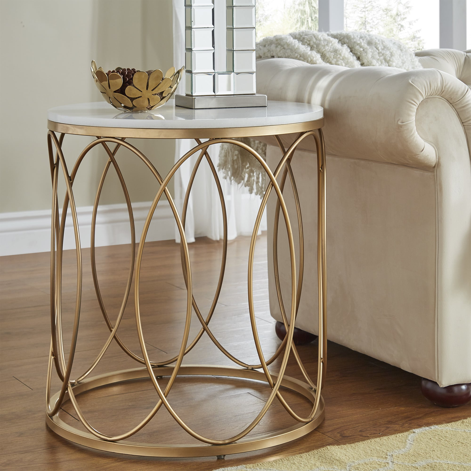lynn round gold end table with marble top inspire bold accent free shipping today black metal glass ashley bedroom furniture island chairs antique and coffee rattan garden