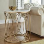 lynn round gold end table with marble top inspire bold accent free shipping today cube inch foyer funky coffee tables pine trestle small pottery barn glass dining bar height 150x150