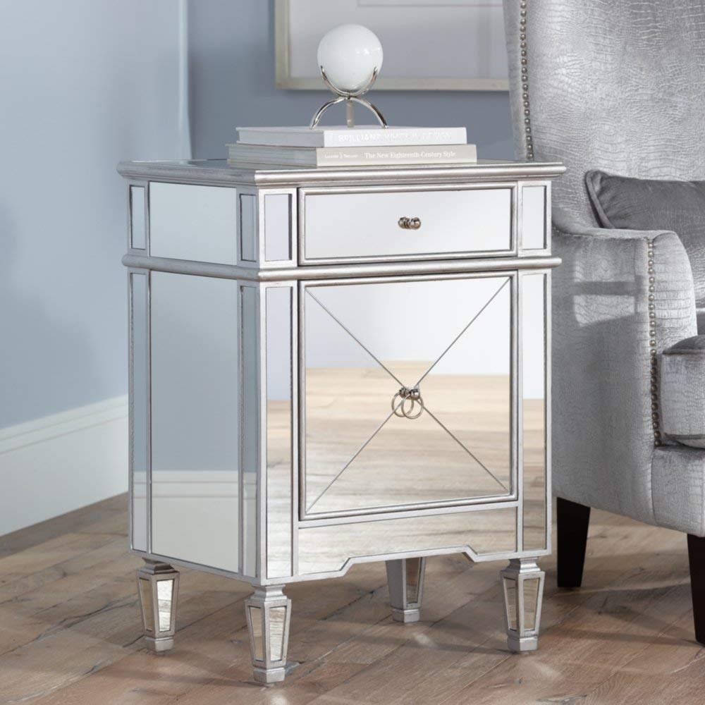 mackenzie wide mirror accent table kitchen mirrored nightstand dining modern white lacquer dresser stand bathroom cabinet knobs headboard designs hacks unique coffee legs sears
