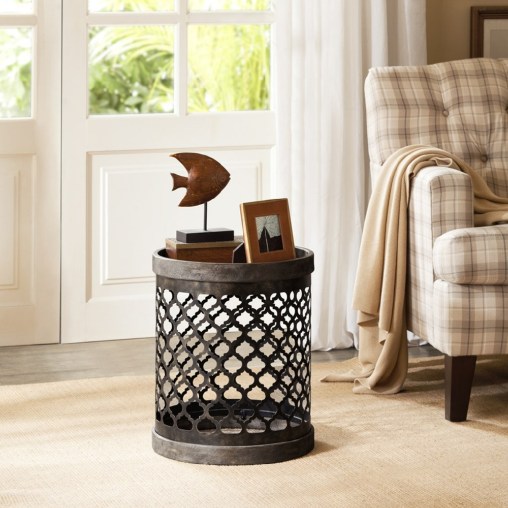 madison park cirque reclaimed gray quatrefoil metal drum accent table mission style coffee plans round outdoor end kohls lamps tables ikea jcpenney shower curtains bedroom night