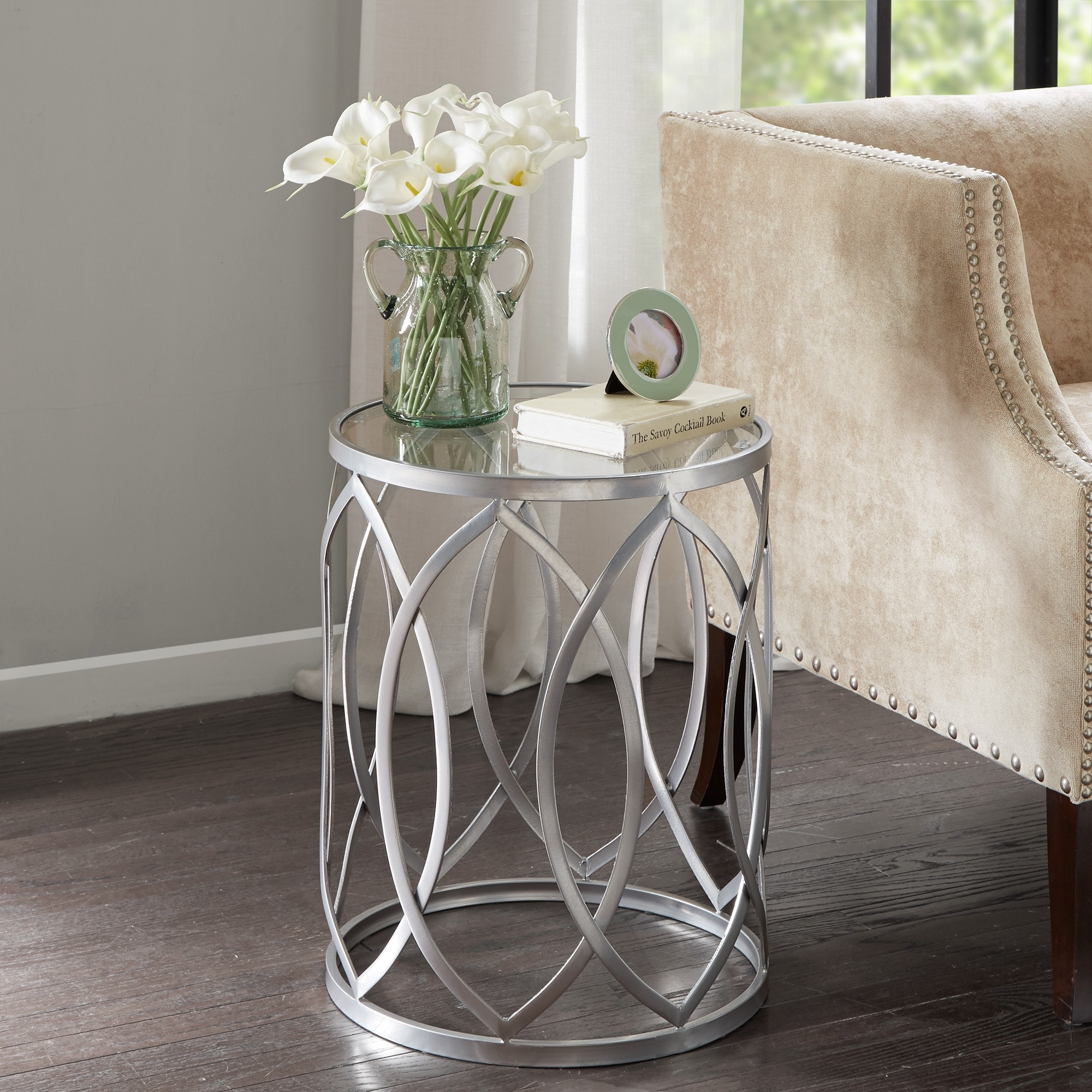 madison park coen metal eyelet accent drum table free style end tables shipping today oak with drawers nice coffee jcpenney marshalls home goods rugs brass phone charging aluminum