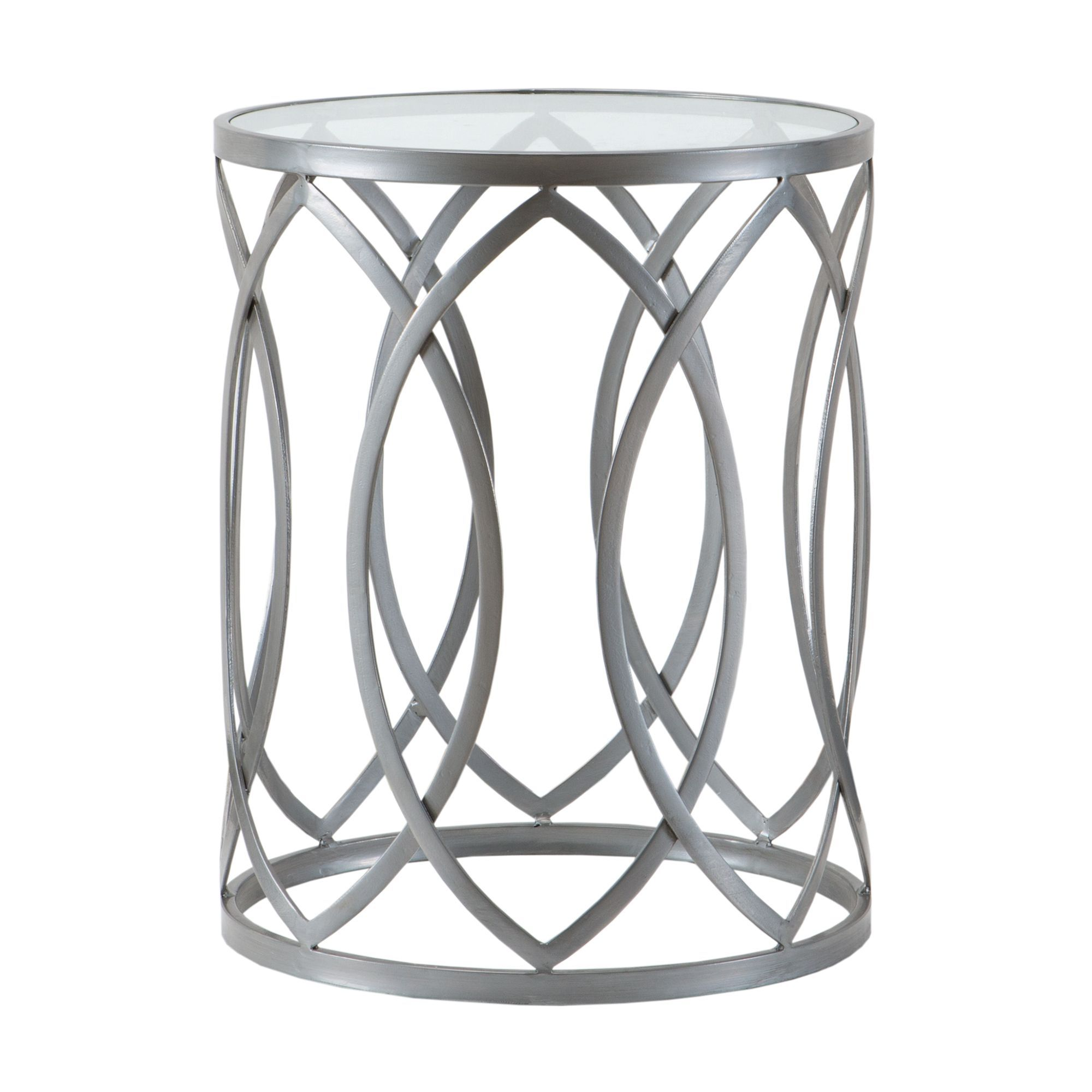 madison park coen metal eyelet accent drum table grey new living silver this with glass top adds just the right amount transitional appeal its geometric styling small side coffee