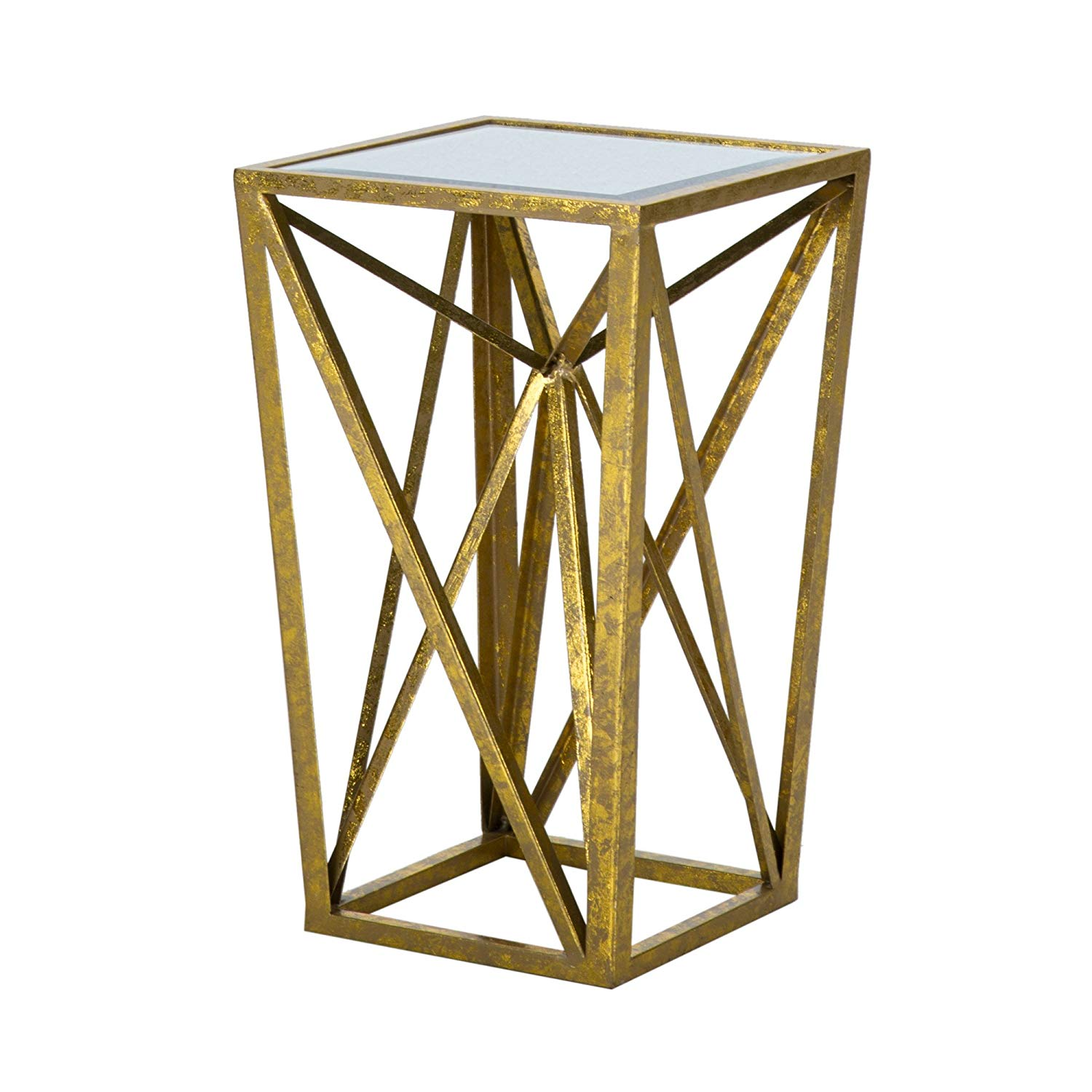 madison park zee accent tables mirror glass metal gold drum table side angular design modern style end piece top hollow round teal placemats and napkins large stackable outdoor