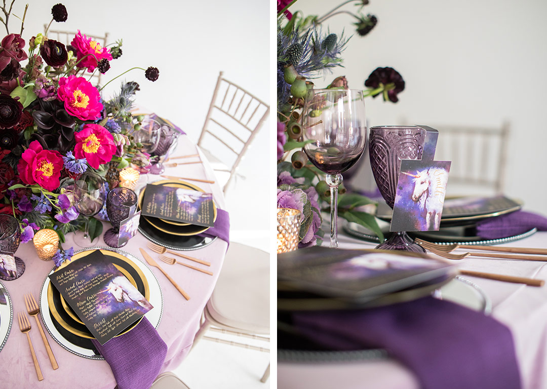 magical styled shoot with unicorns and shades purple nuage fantasy wedding black color palette unicorn magic event ideas accent table for serious invitation inspiration ceci