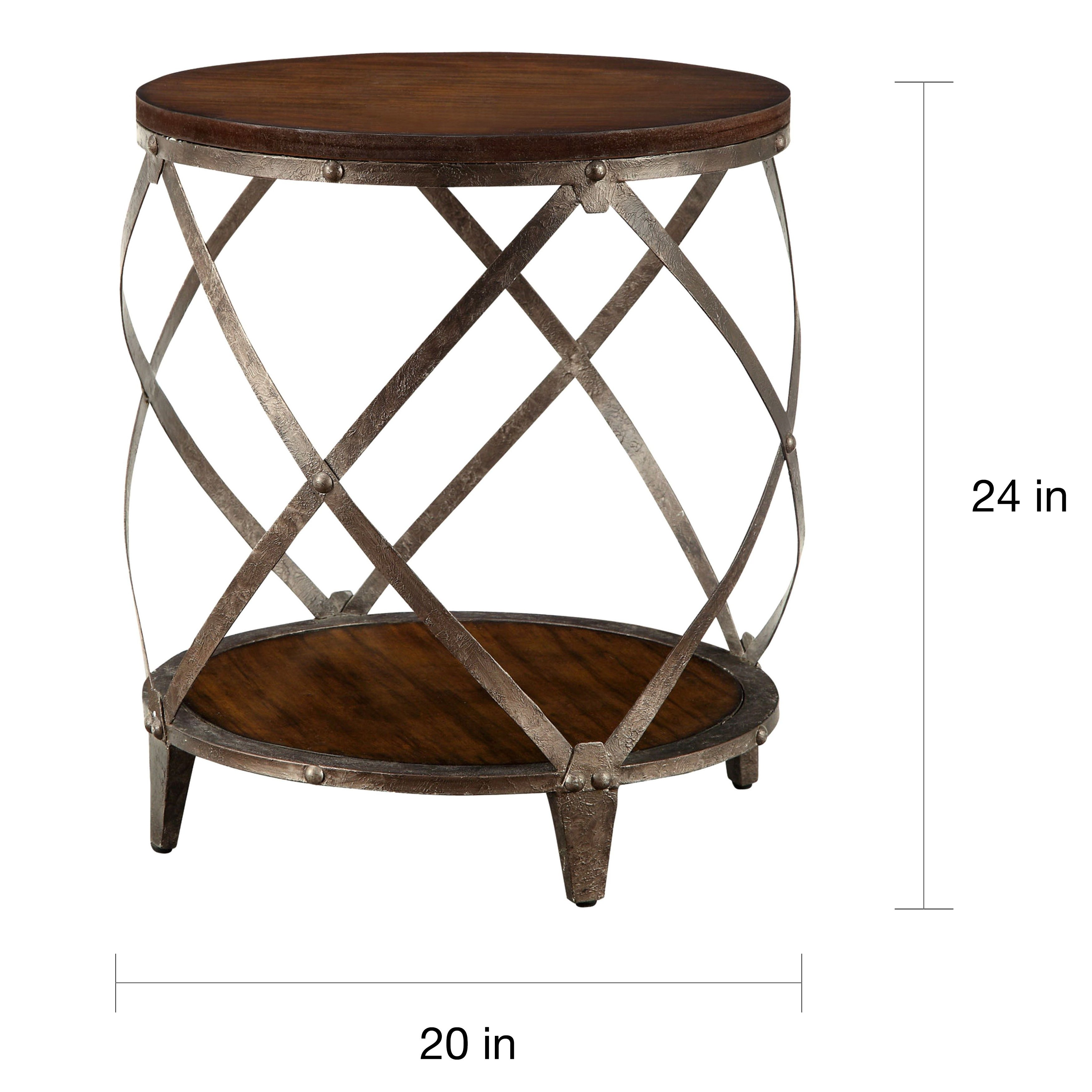 magnison distressed wood metal drum shape accent table free outdoor shipping today living room furniture sets clearance astoria patio cast aluminum small round coffee cabinet