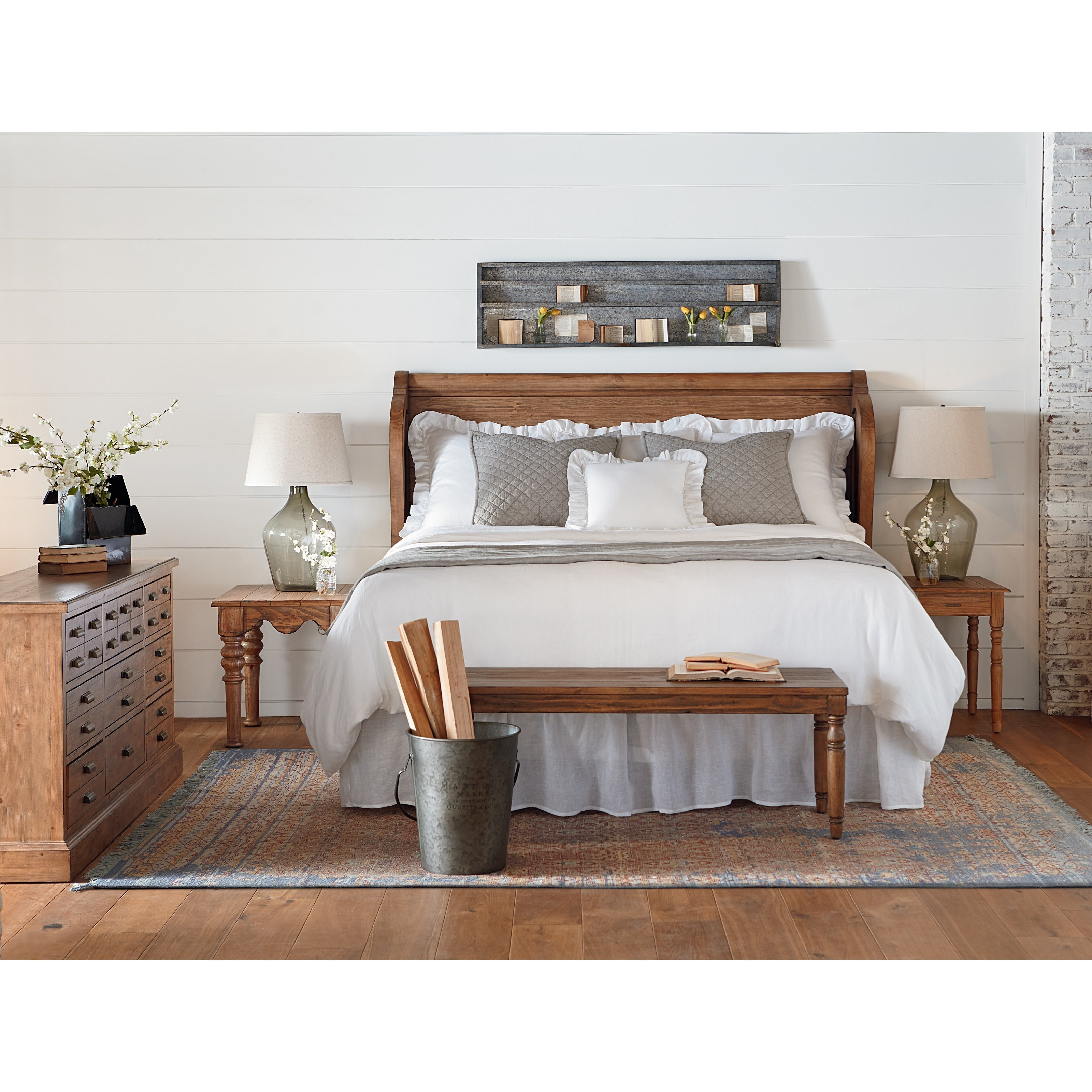 magnolia home joanna gaines farmhouse queen bedroom group products color bench accent table groups nate berkus gold outdoor furniture coast room essentials bedding wire side