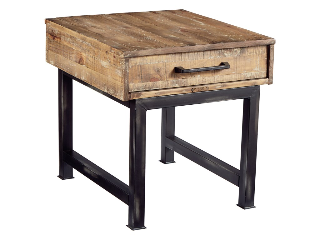 magnolia home joanna gaines industrial pier and beam end table products color threshold parquet accent industrialend rustic tables kitchen counter long narrow behind couch corner