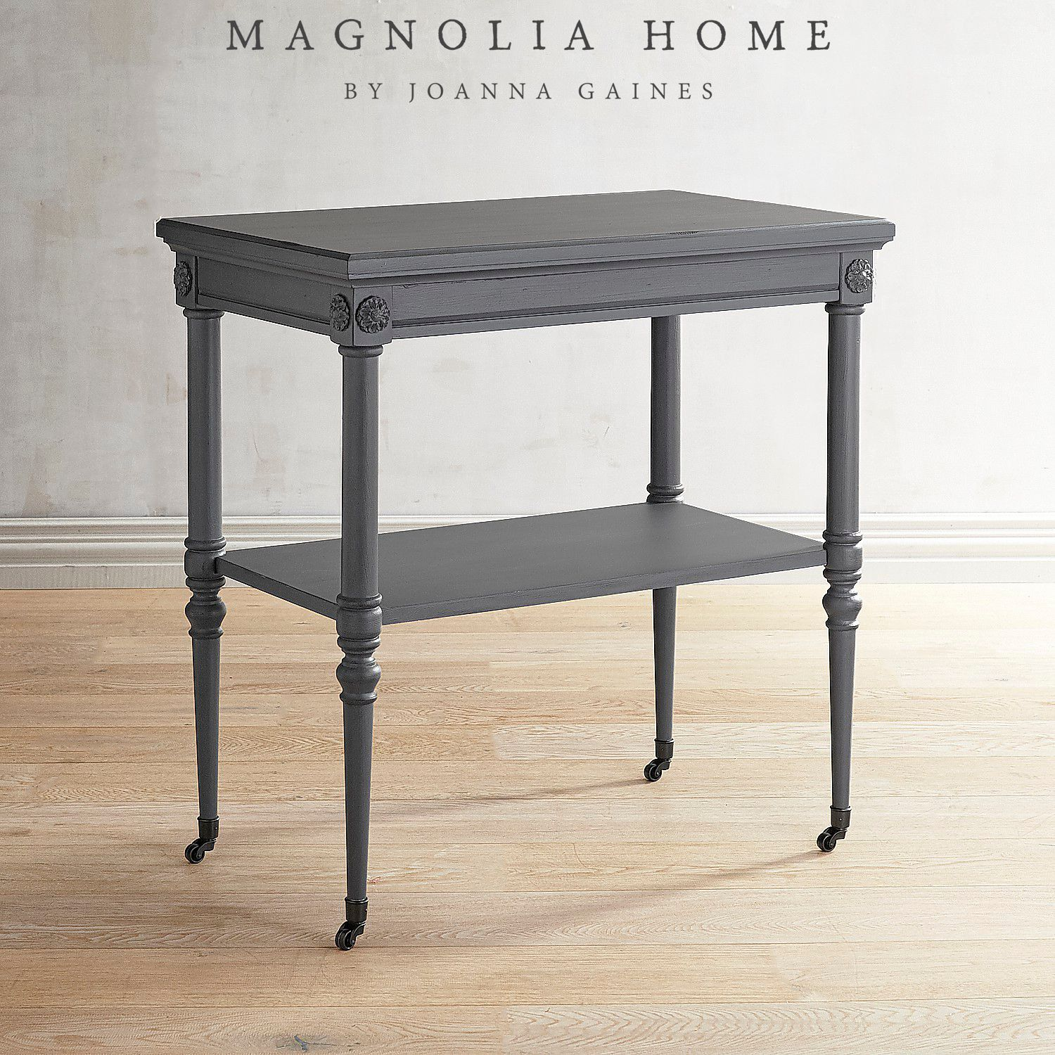 magnolia home petite rosette gray accent table pier imports large outdoor side lamp shades wooden kitchen one end tables tablecloth round brass top ideas nesting gold bookshelf