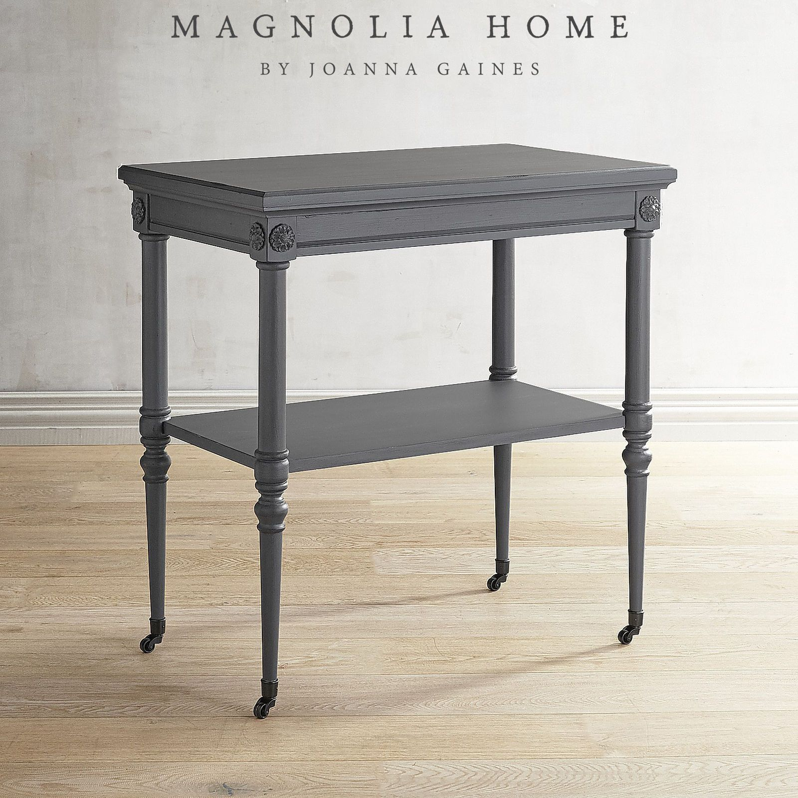 magnolia home petite rosette gray accent table rosettes small drum style ott with drawers unusual living room ornaments glass top for coffee lucite sofa outdoor grill island