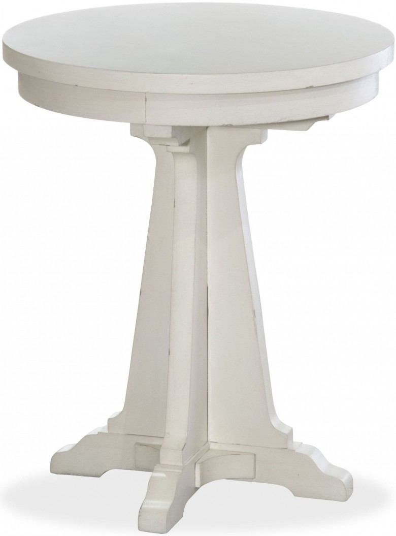magnussen coventry lane antique white round accent table cantilever umbrella winsome with drawer meyda tiffany pendant lights dining chairs cast aluminum end mosaic garden bistro