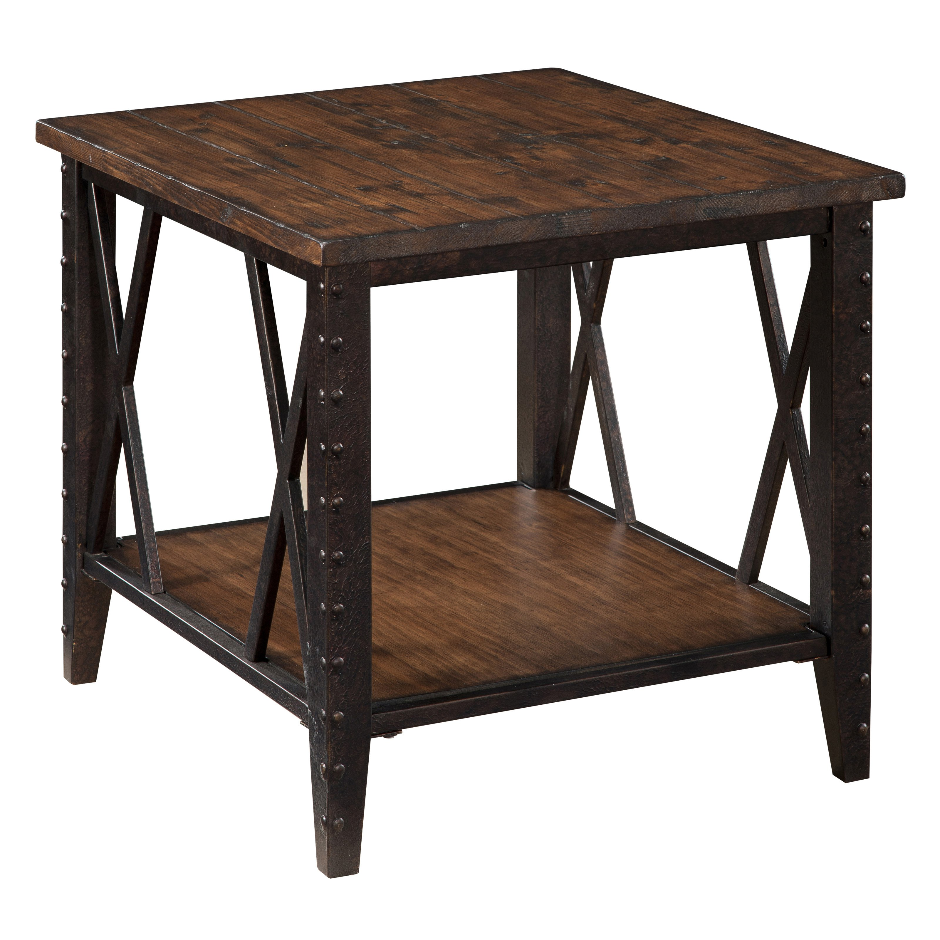 magnussen fleming rectangle rustic pine wood and metal end table master antique tables aqua runner small drinks fridge round coffee base tall ethan allen next side gold marble red