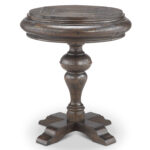 magnussen home beacon falls rustic traditional round accent table weathered chocolate hover zoom metal and glass tables retro kitchen chairs wine rack upcycled wood end with 150x150