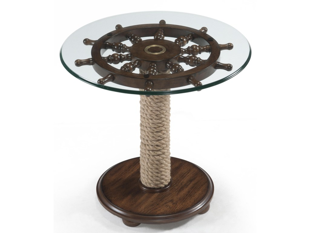 magnussen home beaufort round accent table with tempered glass top products color threshold ship wheel and wound rope pedestal small swivel coffee square dining room bar height