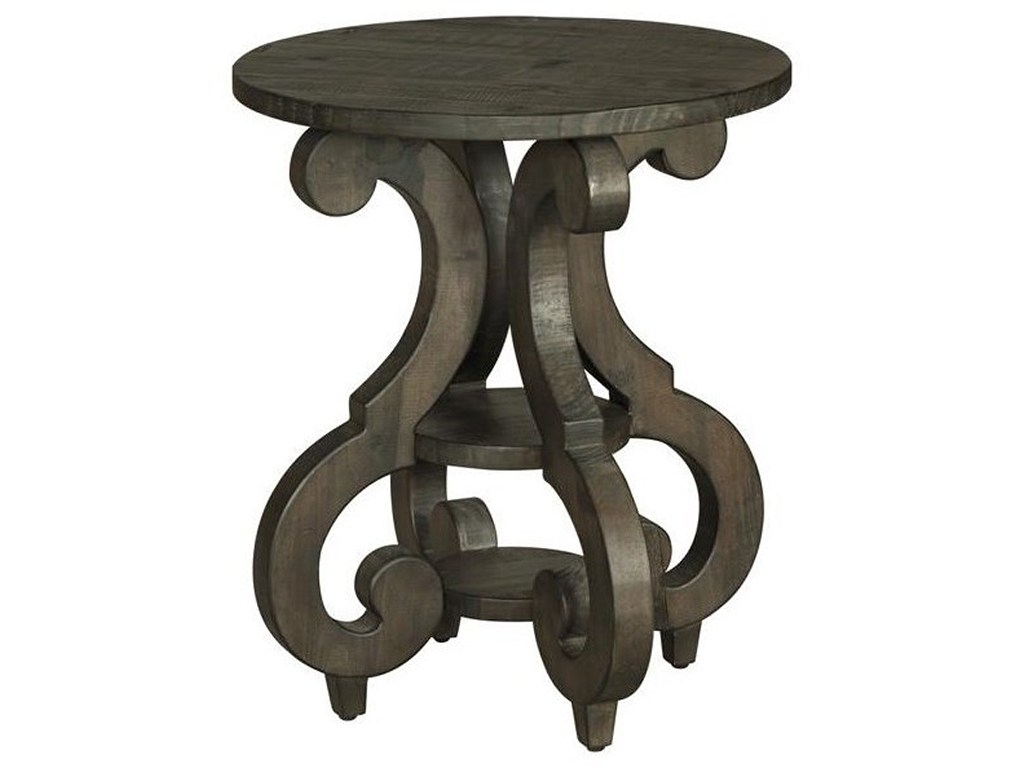 magnussen home bellamy round accent end table with shelves products color outdoor storage ashley bedroom furniture screen porch oak tables for living room mosaic patio metal chair