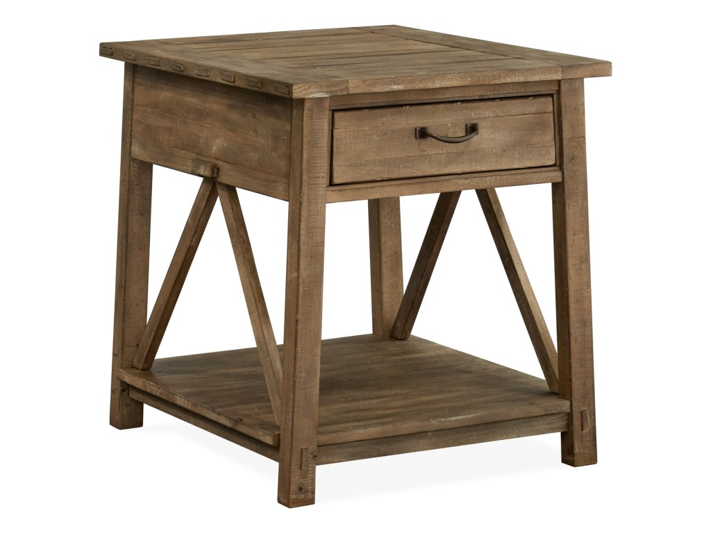 magnussen home bluff heights rustic rectangular drawer end table products color wood one accent threshold heightsrectangular pottery barn changing drop leaf breakfast vintage