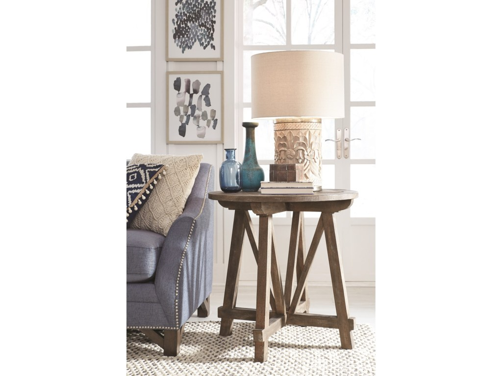 magnussen home bluff heights rustic round accent table with products color height heightsround all metal coffee oak lamp small side end brown wicker chairs latin percussion