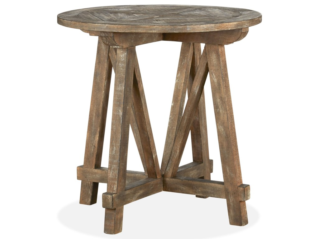 magnussen home bluff heights rustic round accent table with products color height heightsround small side end blue chest concrete outdoor coffee simple white tall pedestal black
