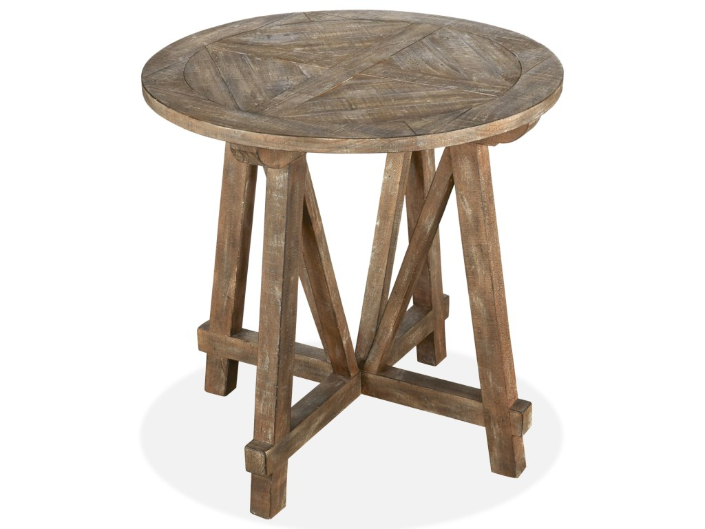 magnussen home bluff heights rustic round accent table with products color height heightsround windham door buffet extra small tables lightning fixtures half moon hall farmhouse
