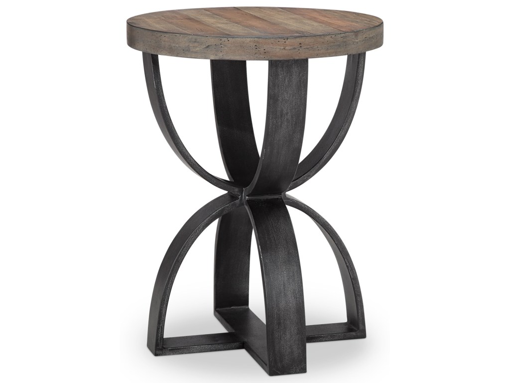 magnussen home bowden rustic round accent table products color pedestal gallerie couch jcpenney sofa plants patio umbrella with solar lights small black metal side long narrow