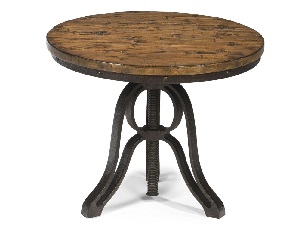 magnussen home cranfill industrial style round end table with products color pinebrook accent cranfillround pub height bistro beach themed bathroom accessories retro cabinet