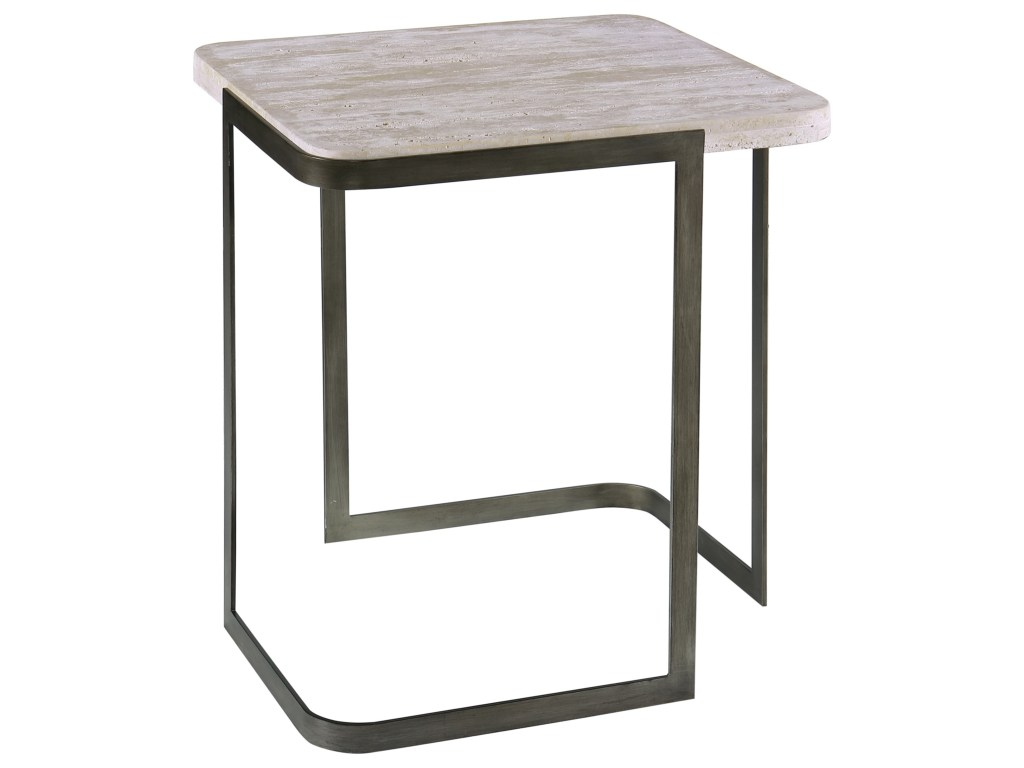 magnussen home deaton contemporary rectangular end table with metal products color small accent base homeworld furniture tables farmhouse console chestnut coffee wood and iron