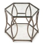 magnussen home nevelson hexagonal end table with geometric metal products color threshold hexagon accent detail beck furniture ashley website wrought iron coffee glass top small 150x150