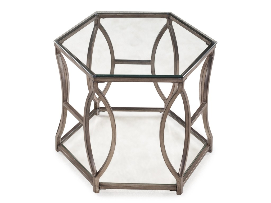magnussen home nevelson hexagonal end table with geometric metal products color threshold hexagon accent detail beck furniture ashley website wrought iron coffee glass top small