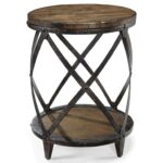 magnussen home pinebrook round accent end table with rustic iron products color unique tables pinebrookround curved glass coffee triangle drawer tray pottery barn and lamp wooden 150x150