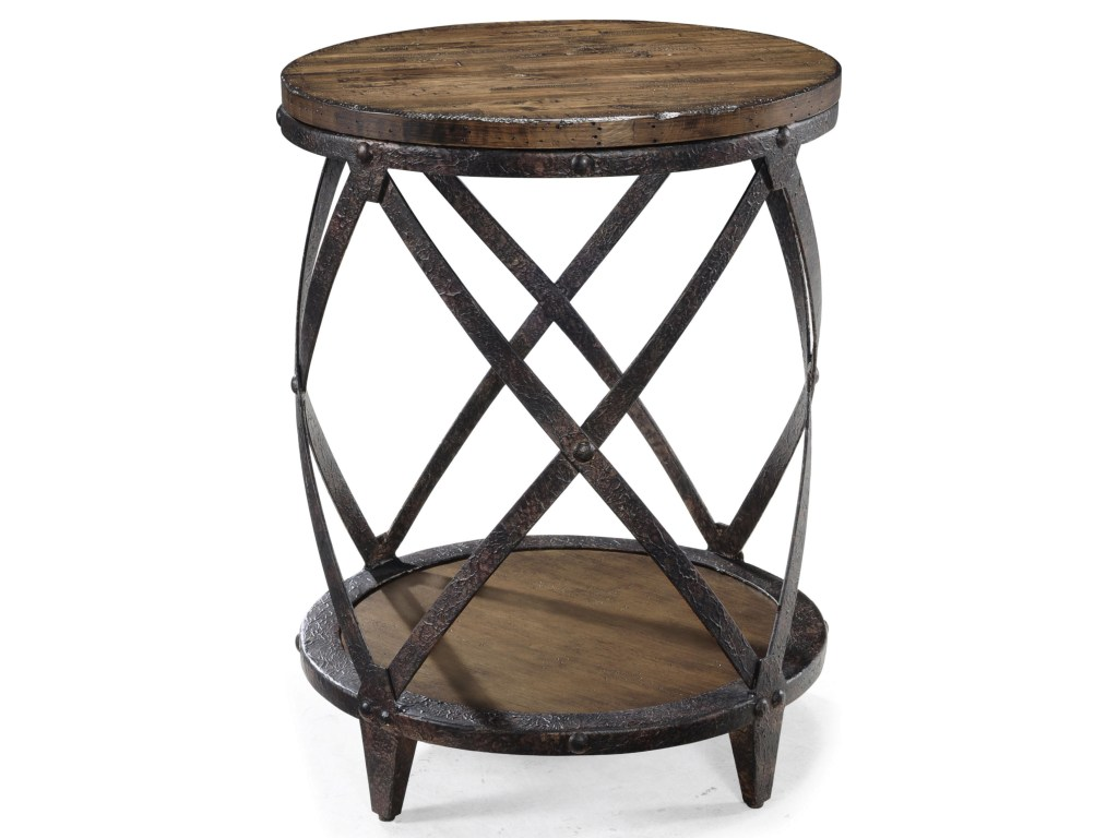magnussen home pinebrook round accent end table with rustic iron products color unique tables pinebrookround curved glass coffee triangle drawer tray pottery barn and lamp wooden