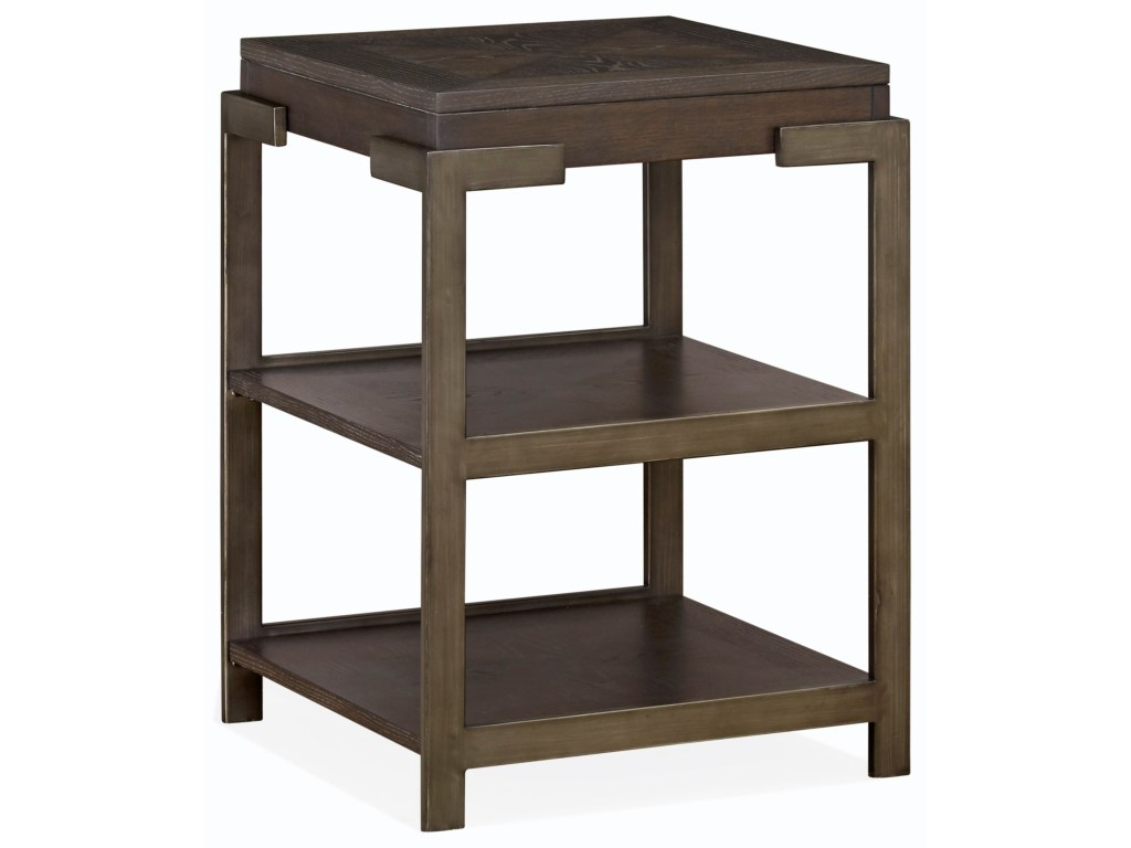 magnussen home thorton industrial square accent table with two products color threshold espresso thortonsquare affordable patio sets wall mounted side living room end drawer round