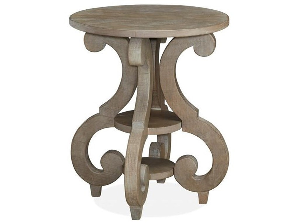magnussen home tinley park relaxed vintage round accent end table products color unique tables parkround tall side with shelves folding wooden centre designs glass top pier one