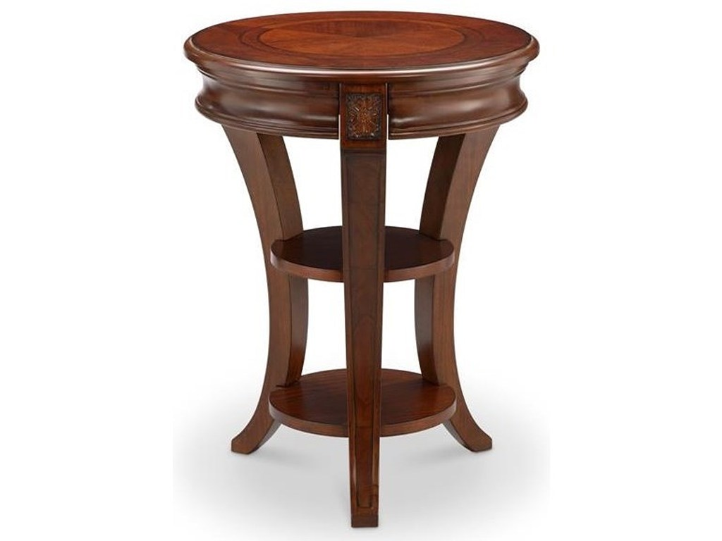 magnussen home winslet round accent table with shelves products color storage dunk bright furniture end tables teak garden square tiffany lamp winsome wood ipad wireless charging