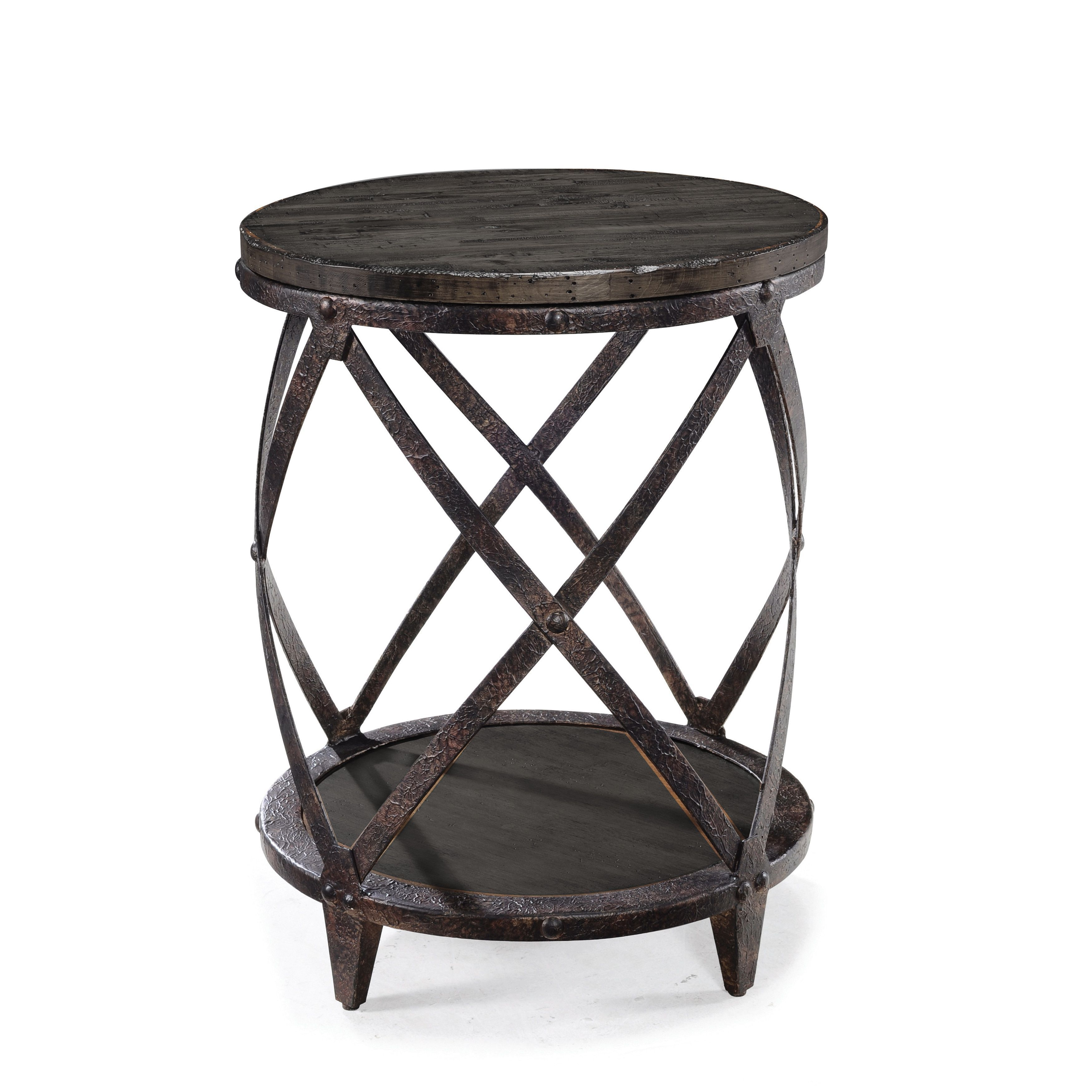 magnussen milford grey metal and wood round accent table freya glass telephone modern vintage furniture kmart console counter height chairs balcony umbrella pottery barn style