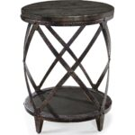 magnussen milford round accent table weathered charcoal and gray gunmetal antique wood kids side sheesham nest tables target swivel chair pottery barn trunk end west elm 150x150