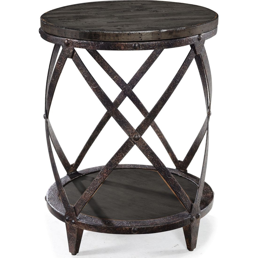 magnussen milford round accent table weathered charcoal and wood metal gunmetal hanging lamps tablecloths napkins decorator pottery barn small kitchen inch height end cabinet