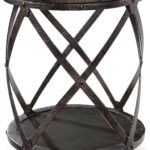 magnussen milford weathered charcoal and gunmetal round accent table gray champagne bucket parquet target carpet transition strip front door console ellipsis mat for dining west 150x150