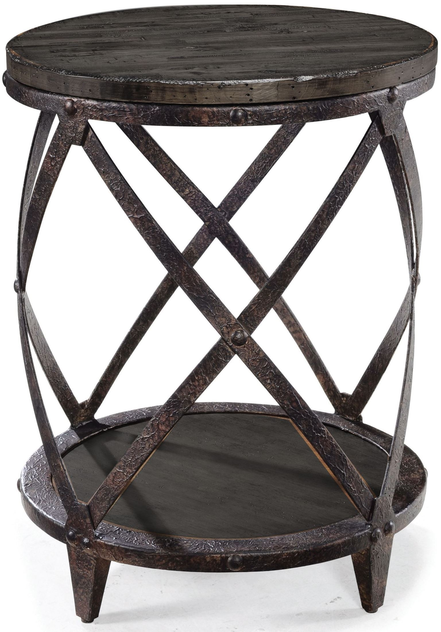 magnussen milford weathered charcoal and gunmetal round accent table gray champagne bucket parquet target carpet transition strip front door console ellipsis mat for dining west