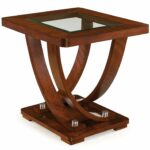 magnussen pavilion contemporary medium hawthorne glass top accent table brown rectangular end kitchen dining monarch hall console pier one rattan height tables white side for 150x150