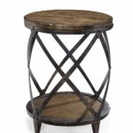 magnussen pinebrook round accent table distressed natural pine two nesting tables garden storage bench seat tall bedside with drawers beach themed bathroom accessories dark oak 150x150