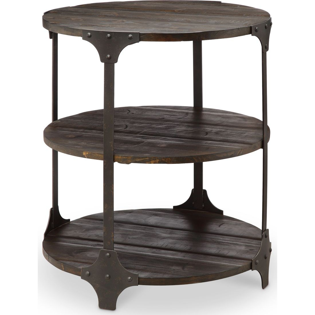 magnussen rydale round accent table dark chocolate aged iron nautical chandelier shades end design plans concrete look cymbal bag nesting cocktail set comfy patio furniture garden