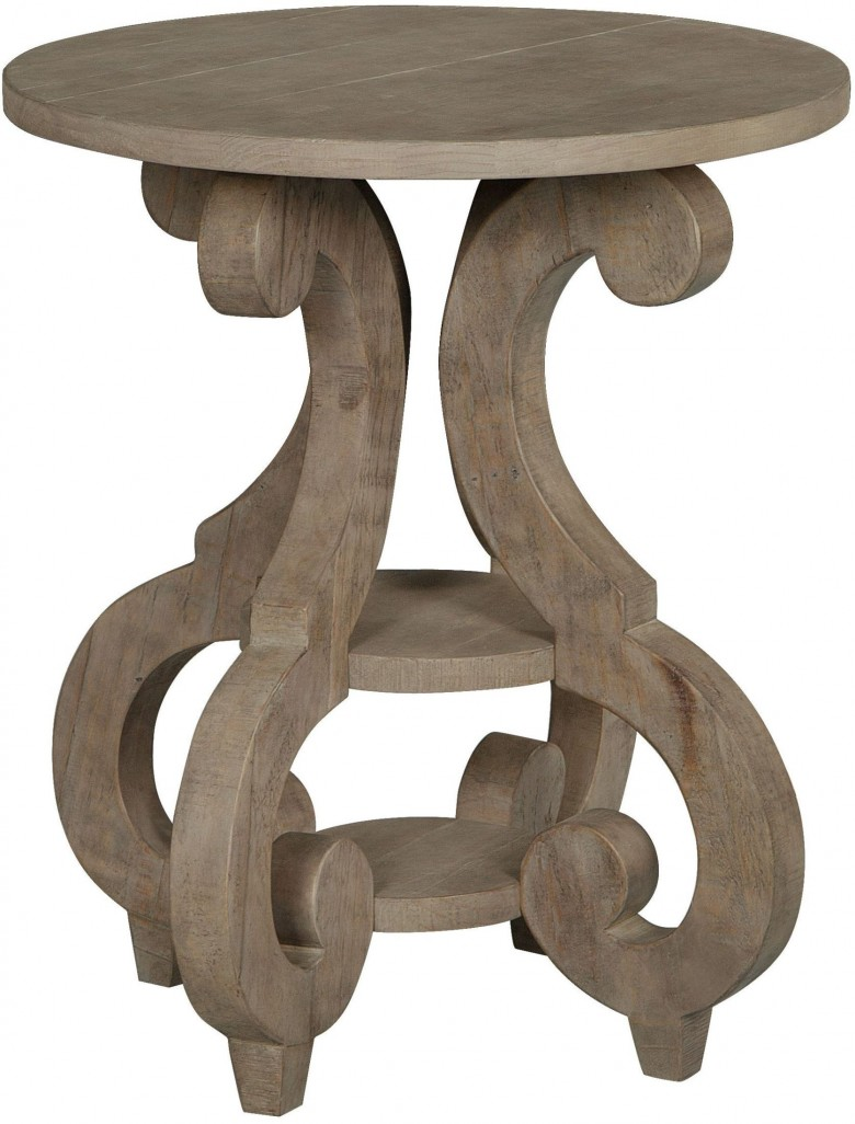 magnussen tinley park dove tail grey round accent end table cocktail tables and big umbrella zen furniture painting shelves bar height dining room patio with monarch hall console